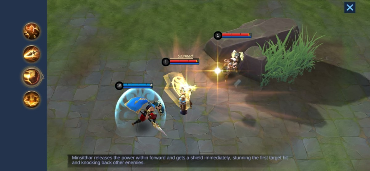 Minsitthar stuns Layla with his Shield Assault Skill