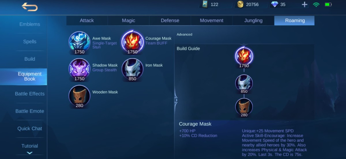 Courage Mask Equipment Info