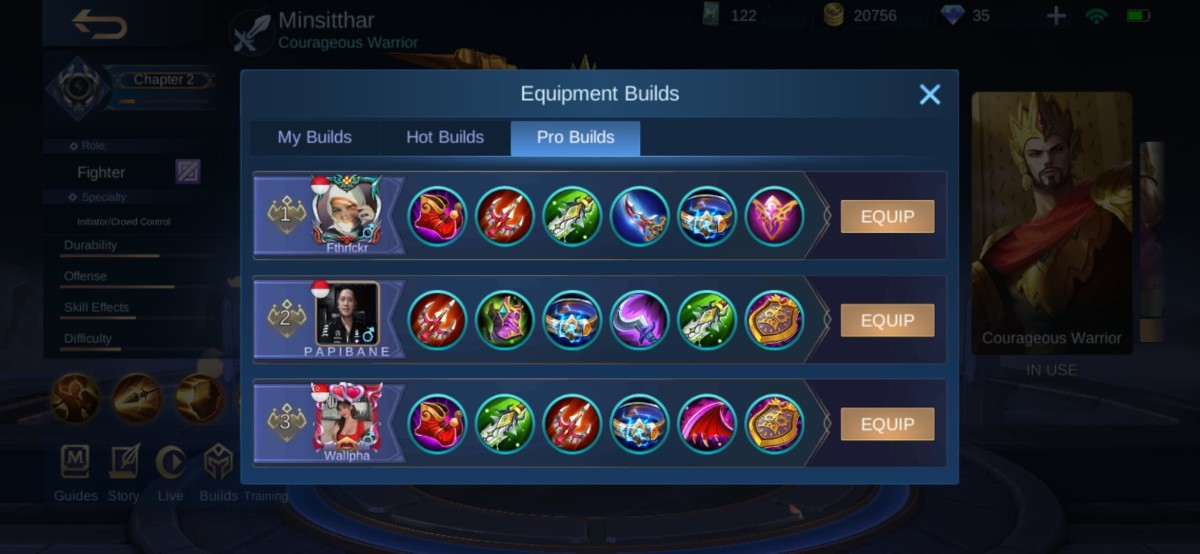 Minsitthar Build recommendations from the Global Top Players