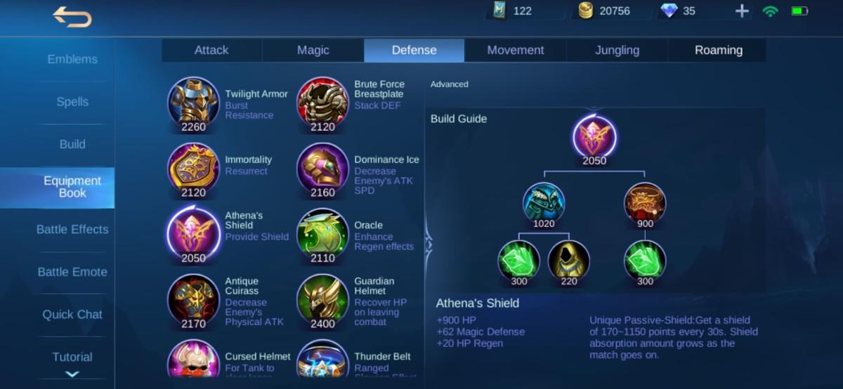 Athena Shield Equipment Info