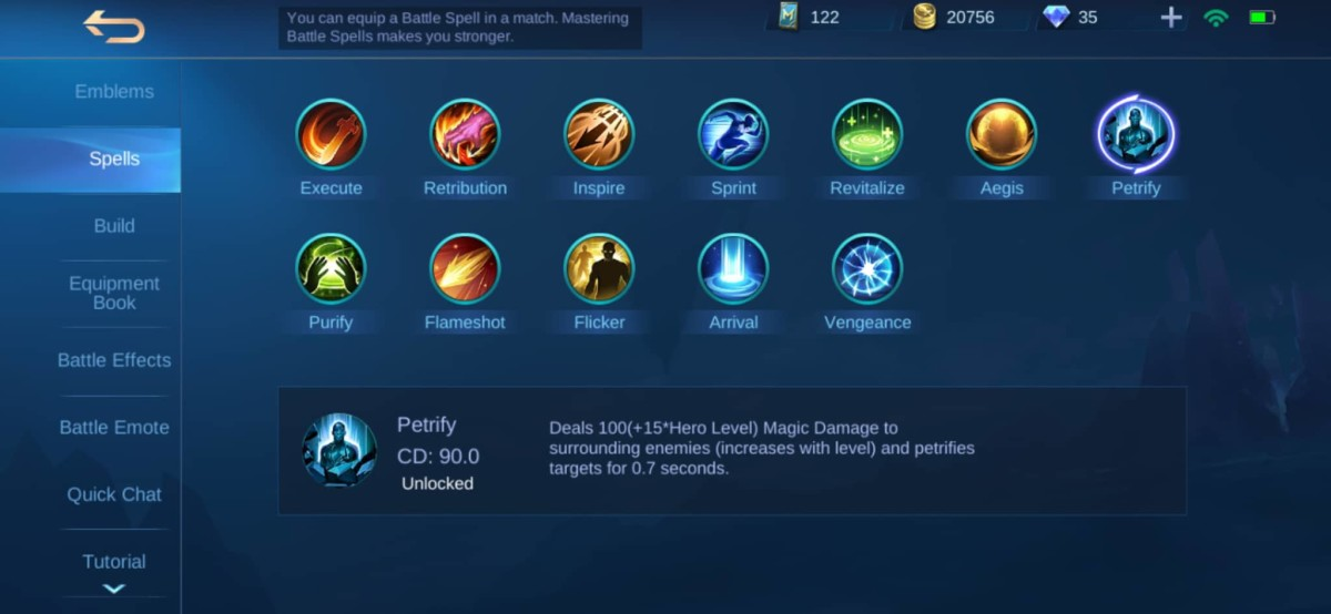 "Recommended Spell for Minsitthar: Petrify Spell Description in ""Mobile Legends"""