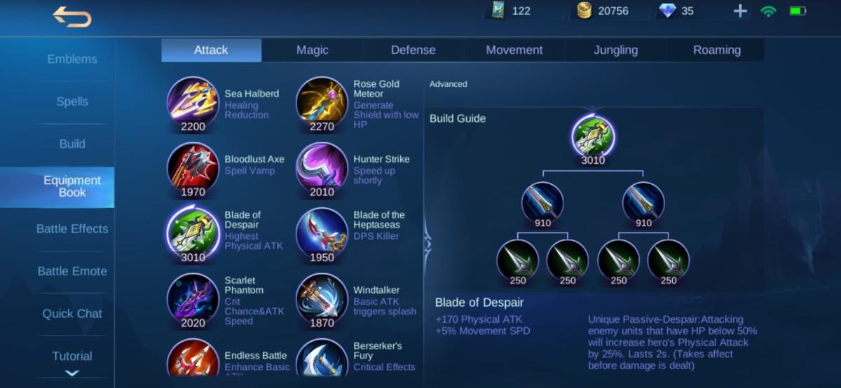 Blade of Despair Equipment Info