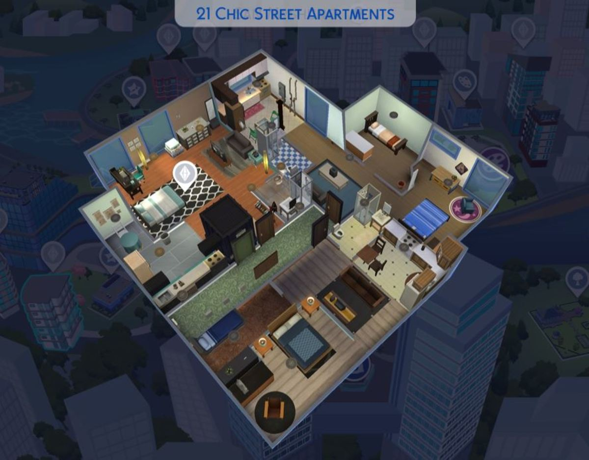 "If you have ""The Sims 4: City Living"" expansion pack, I chose the apartment at 1310 Chic Street; it's usually a cheap starter apartment (bottom corner). Now in my game it's a luxury loft."