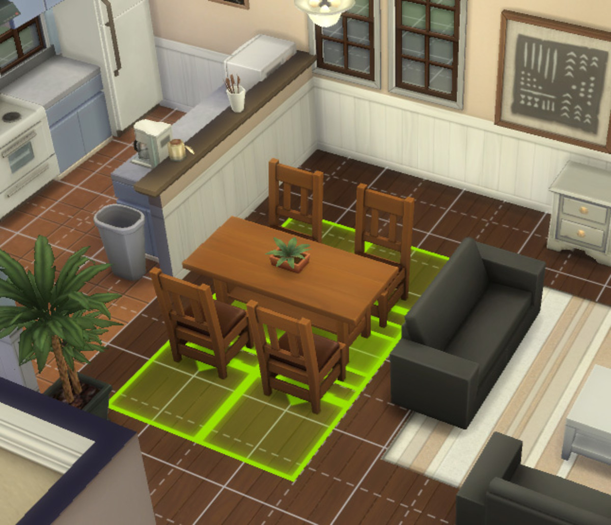 Being able to move items that go together in one group makes things easier. The green highlighted grid shows the space the items need for Sims to properly use them.