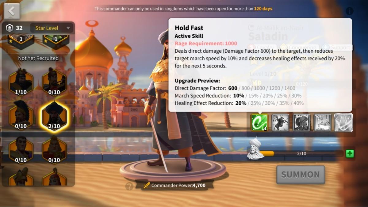 Skill Description on Saladin's First Skill