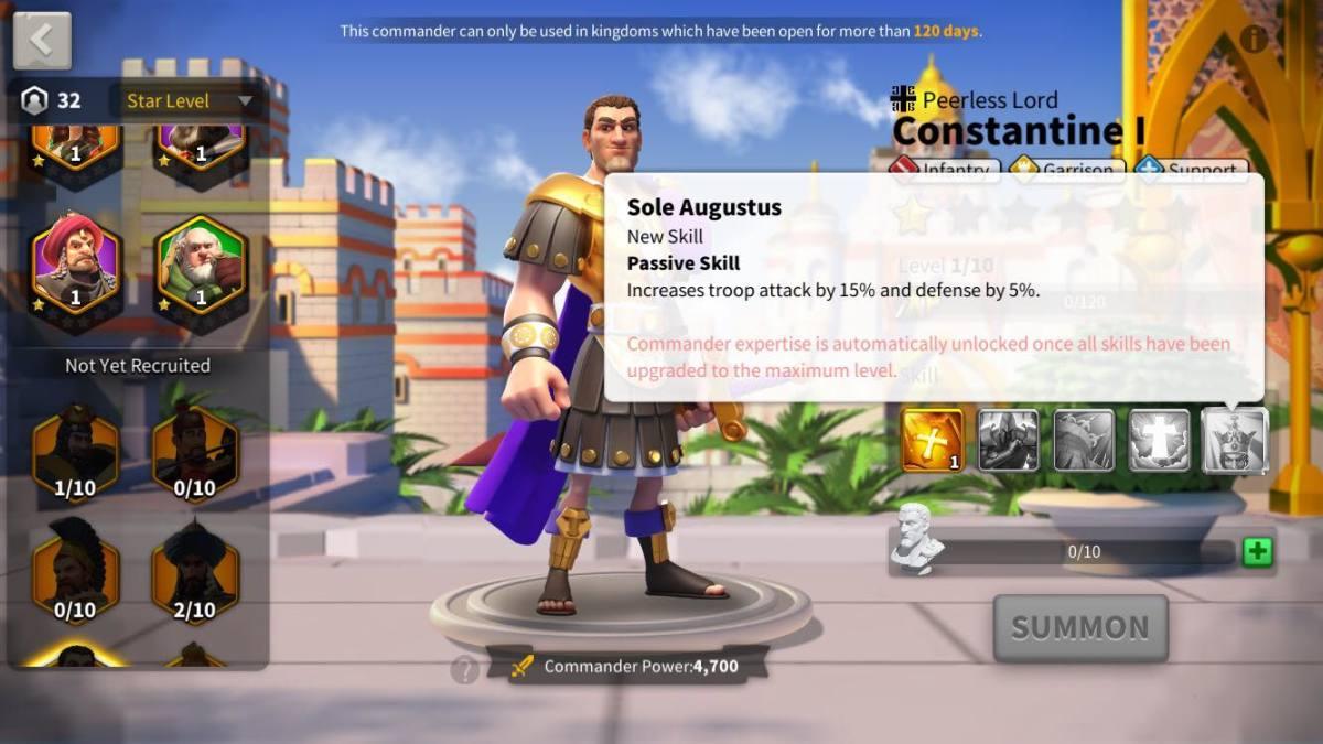 Constantine I's Expertise Skill Description