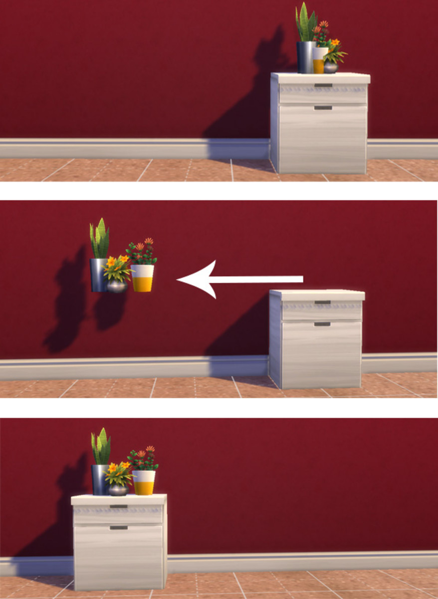 "Because of the way surfaces are designed it's hard to arrange multiple items on top of them. Arrange the items while they're ""floating"" and then you can put the surface back in place to create an illusion."