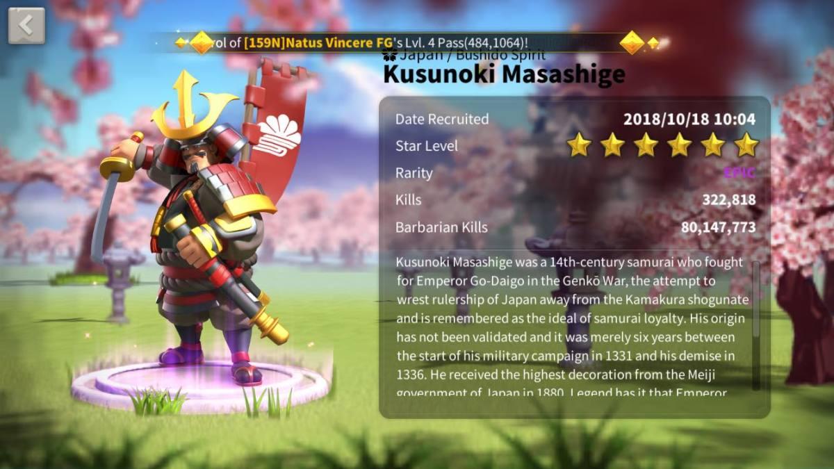 Kusunoki Masashige Profile Page