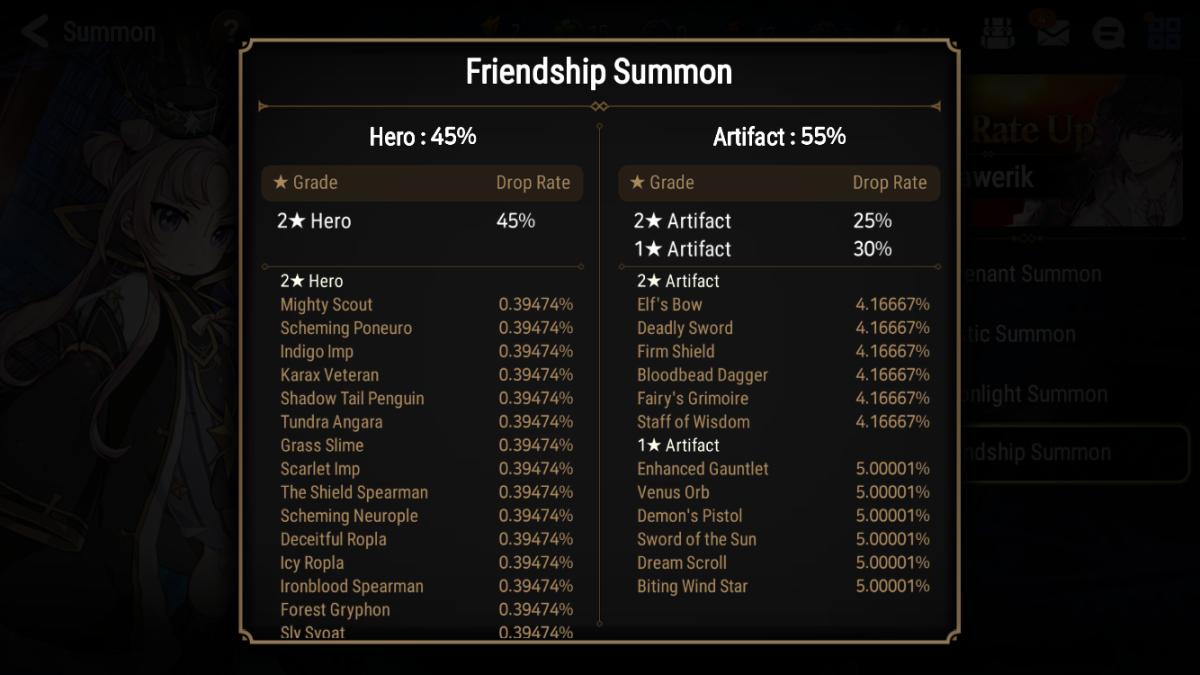 """Epic Seven"" Friendship Summon Drop Rates"