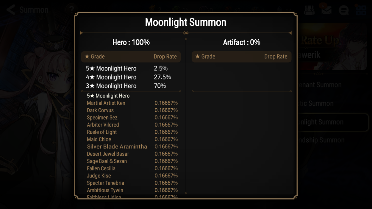 """Epic Seven"" Moonlight Summon Drop Rates"