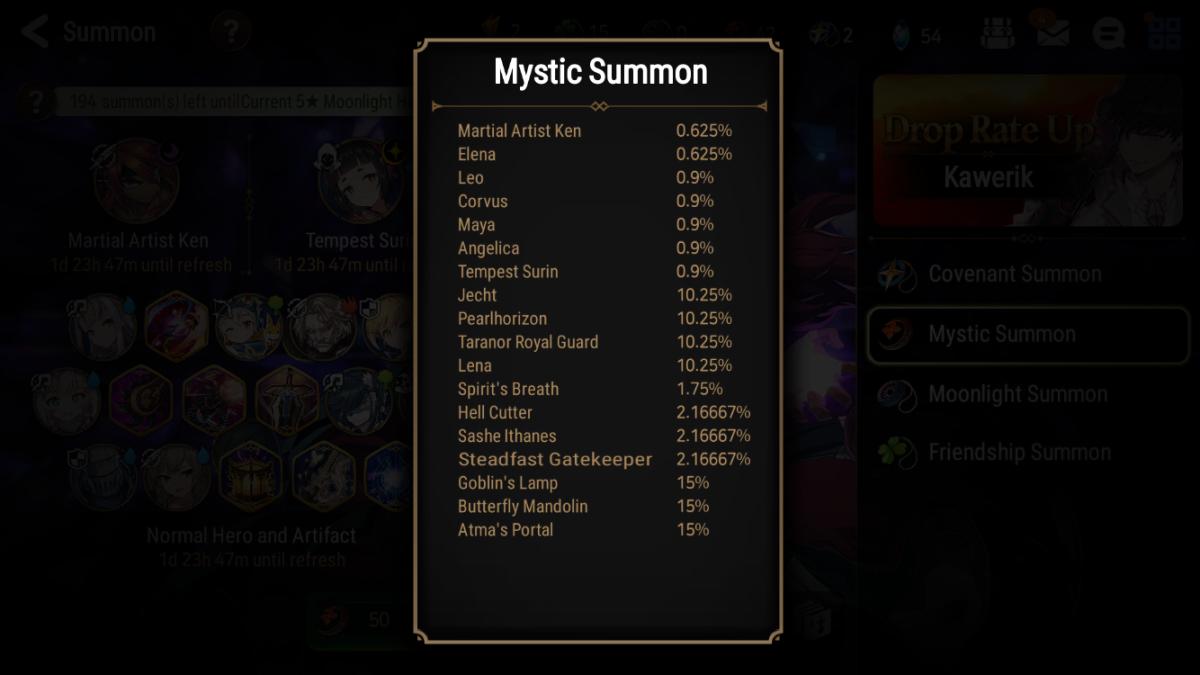 """""""Epic Seven"""" Mystic Summon Drop Rates"""