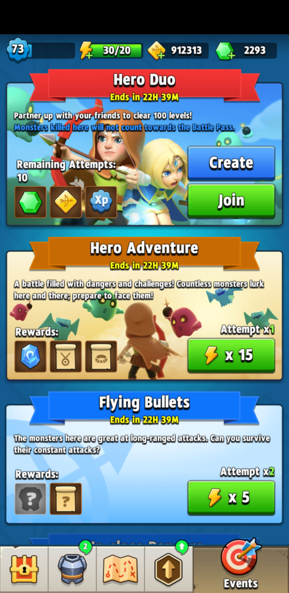 "Endless ""Hero Adventure"" mode available in the Events tab."