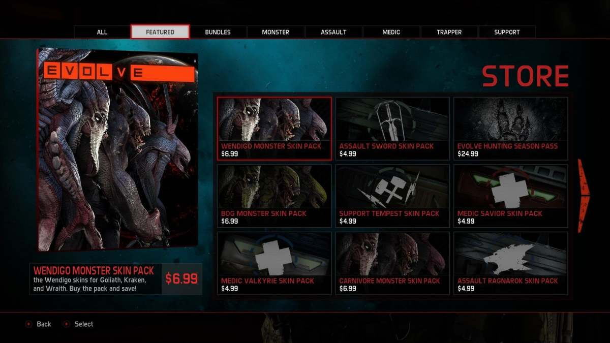 Evolve's store and a few DLCs.