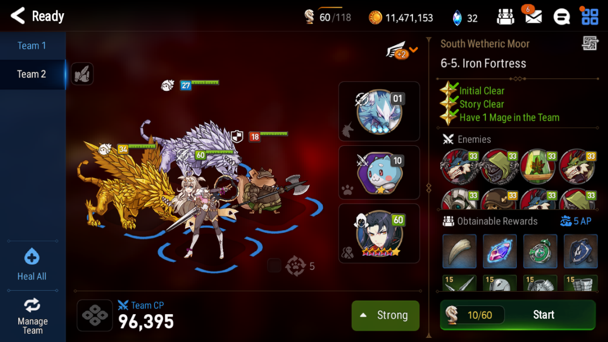 Typical farming team composition with 1 strong unit, 1 2-star fodder, 1 Mega-Phantasma, 1 Giga-Phantasma, and a good friend unit. Note that to speed up farming, your strong unit should not be in the leader spot (the rightmost space).