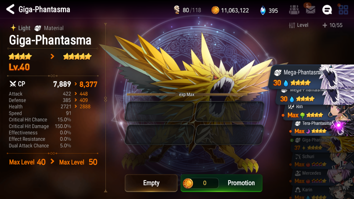 In the absence of Tera-Phantasma, promote max leveled 4-star Giga-Phantasma to 5 stars