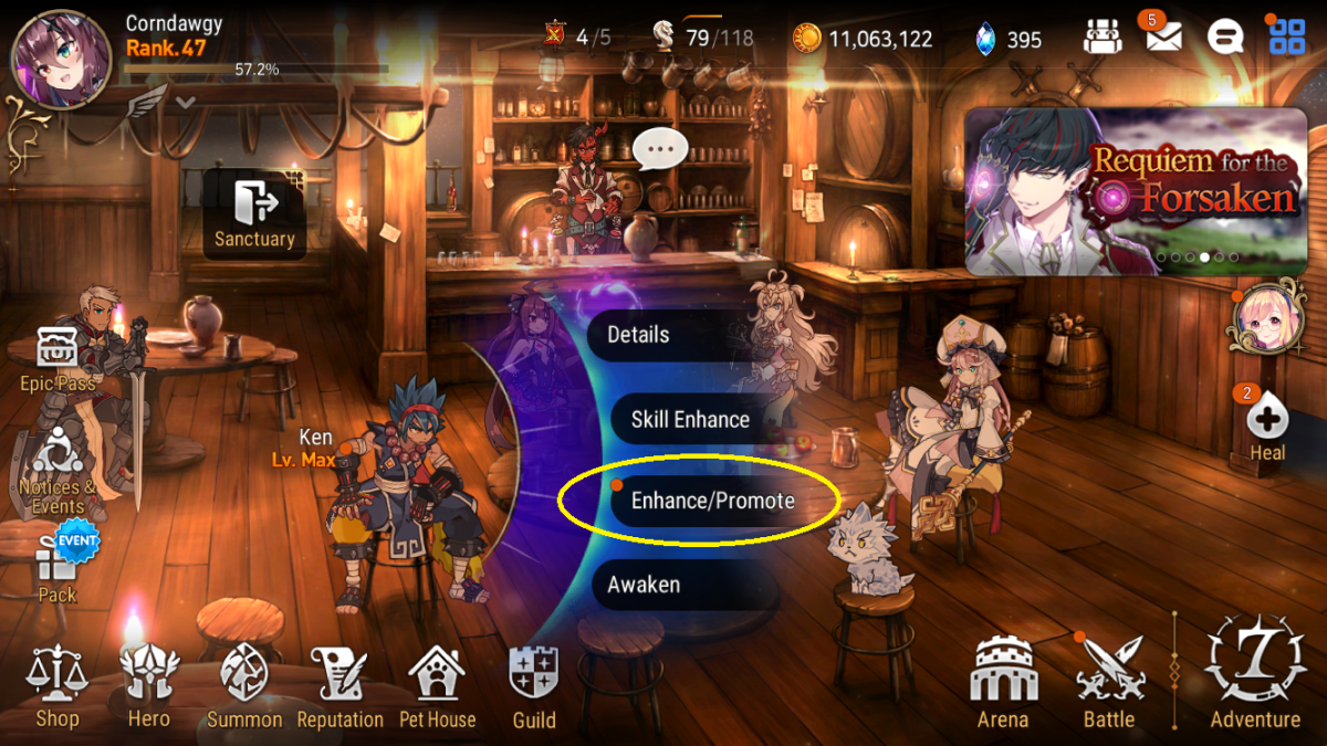 """Epic Seven"" Lobby showing options when a character, in this case Ken, is selected. The Enhance/Promote option is circled."