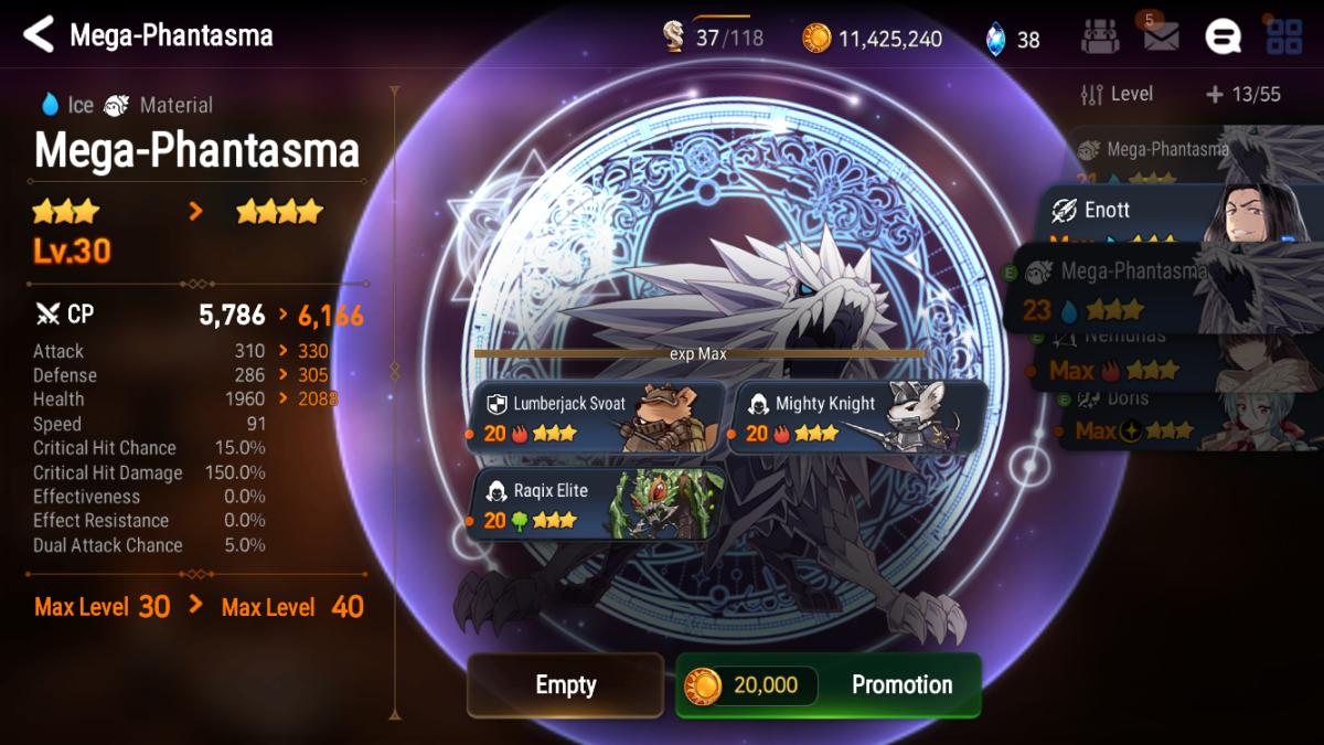 Promoting a 3-star Mega-Phantasma to 4 stars