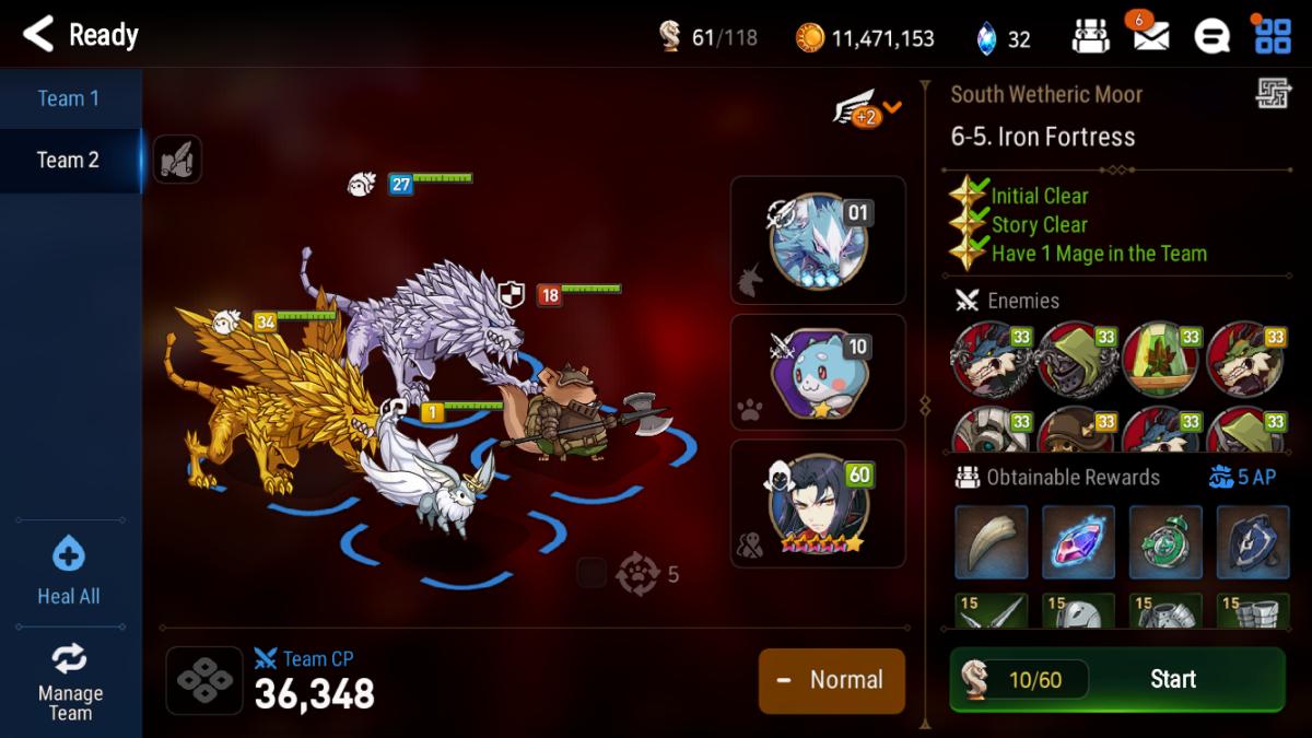 Optimal farming team composition with 2 2-star fodder, 1 Mega-Phantasma, 1 Giga-Phantasma, and a good friend support