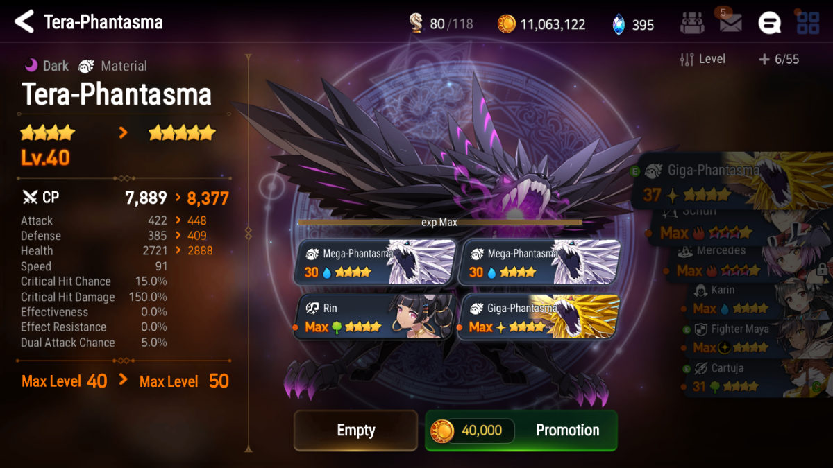 Promoting a 4-star Tera-Phantasma to 5 stars. Note: this is for demonstration purposes only, do not use 4-star heroes or max level heroes as fodder.