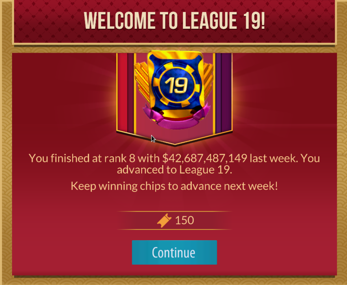 """Zynga Poker"" league results."