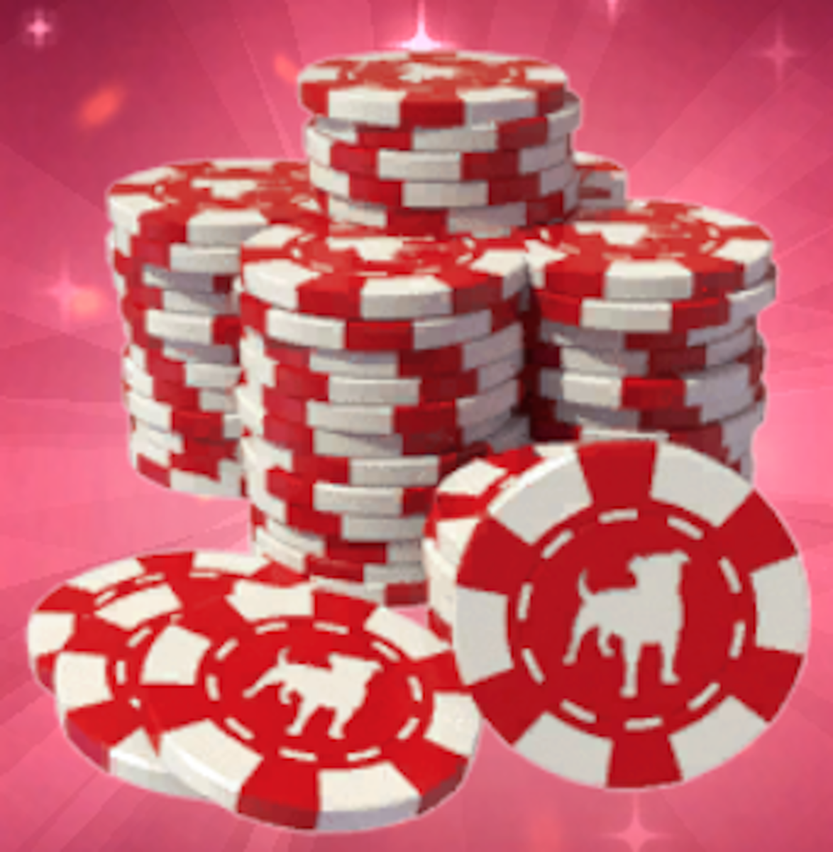"""A pile of chips from """"Zynga Poker."""""""