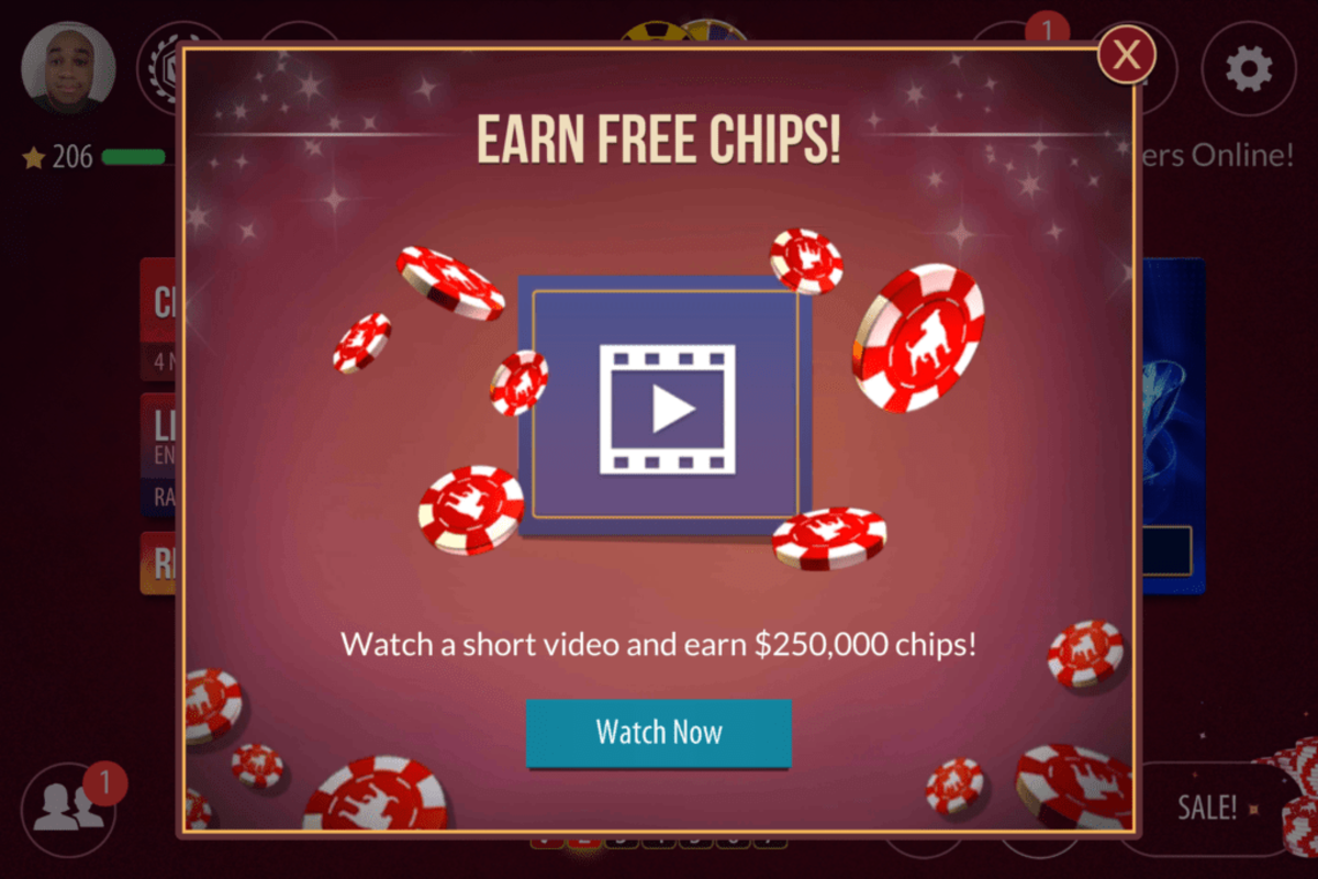 Video ads for free chips.