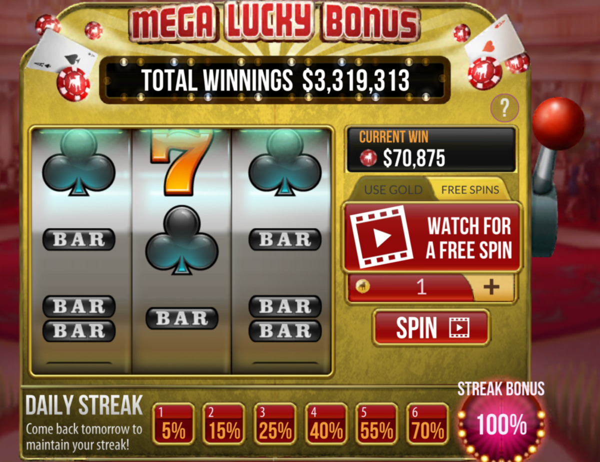 Video ads for free Lucky Bonus Slot machine spins.