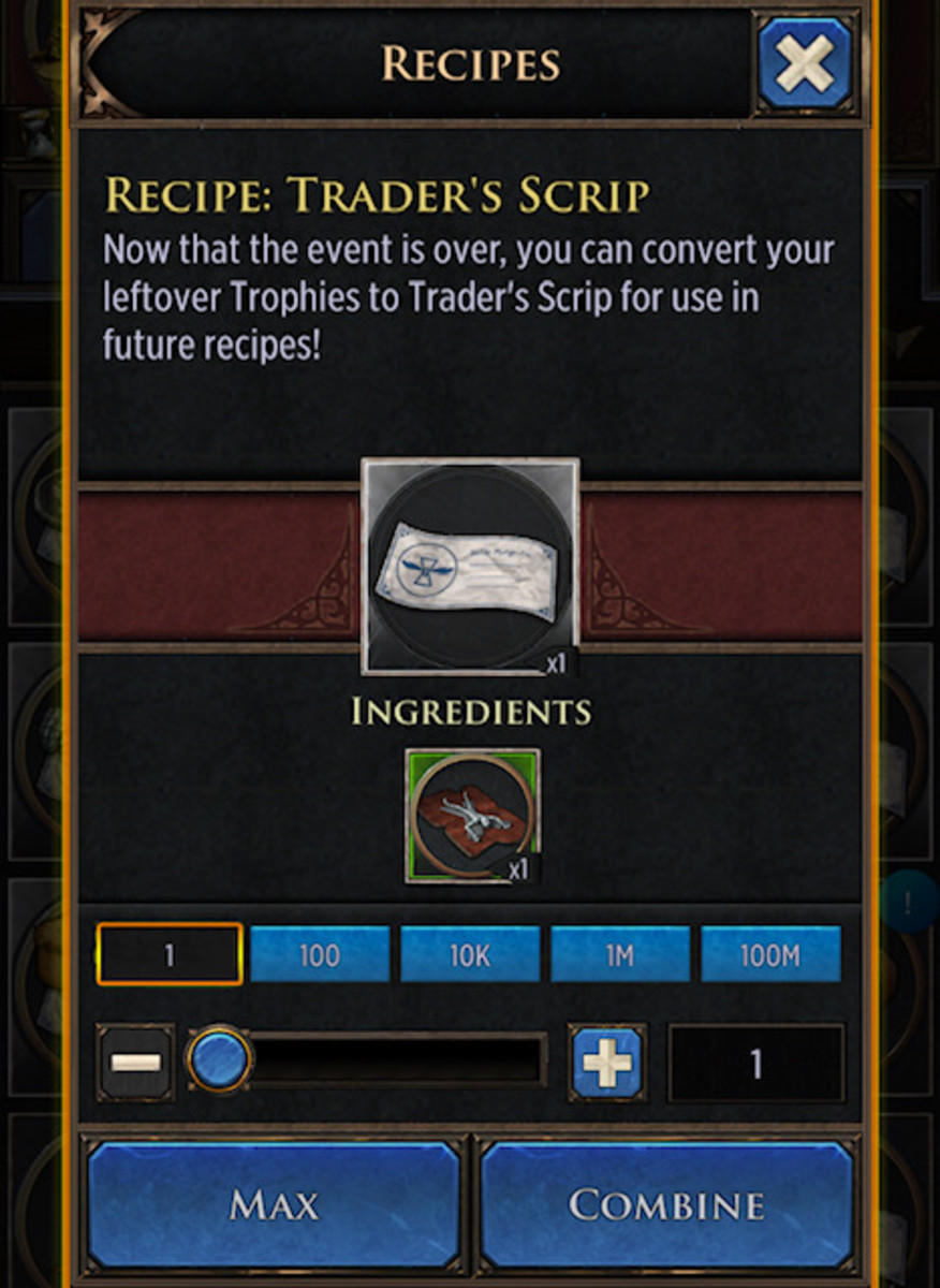 The screen for converting past event material to trader's scrip.
