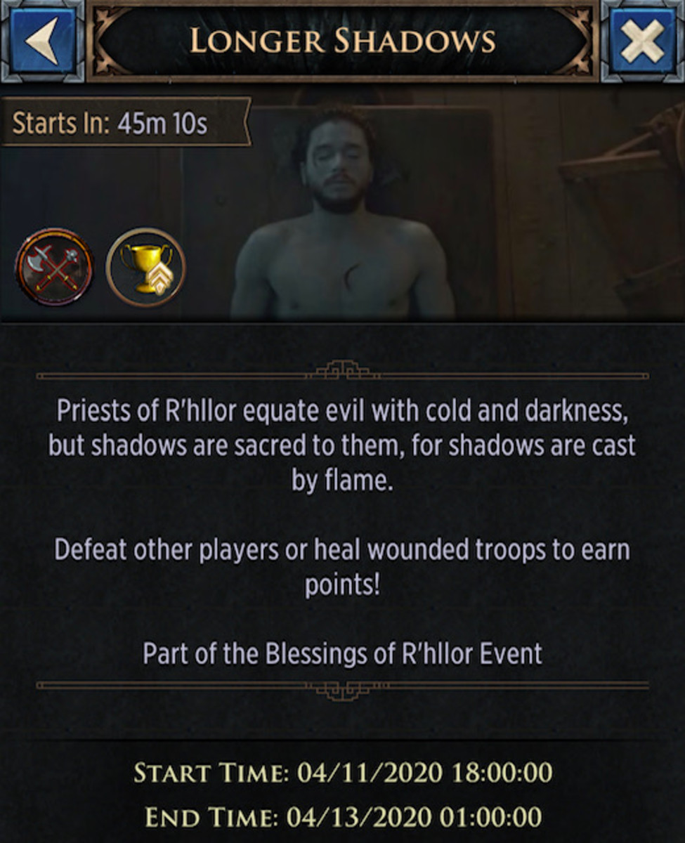 "The event screen for ""Longer Shadows."" The text tells you how to earn points in the event. The top left corner displays the time remaining until the event."