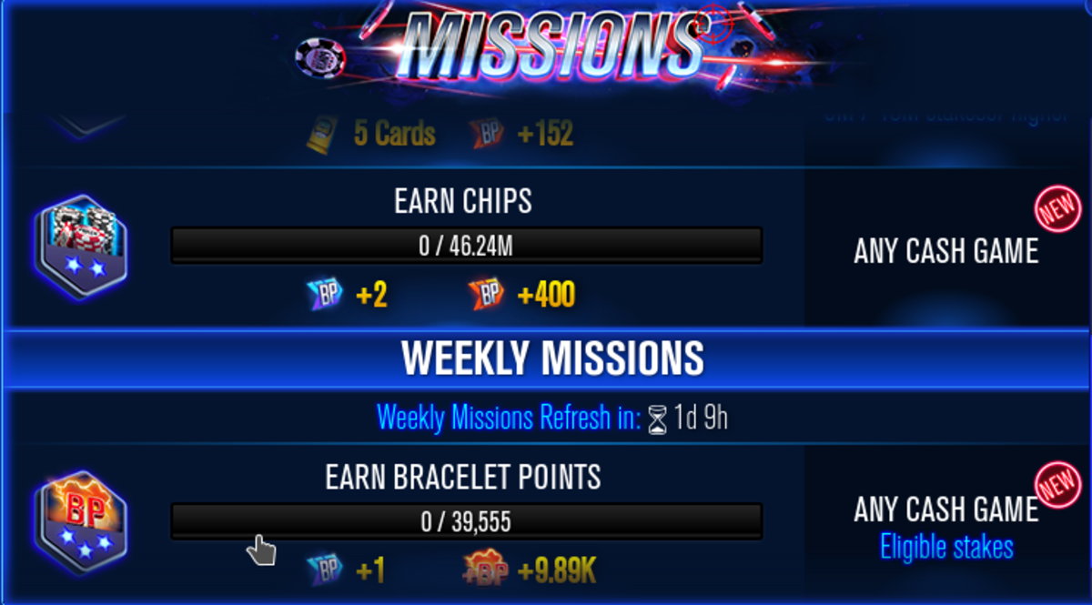 """This is the missions screen found in """"WSOP""""."""