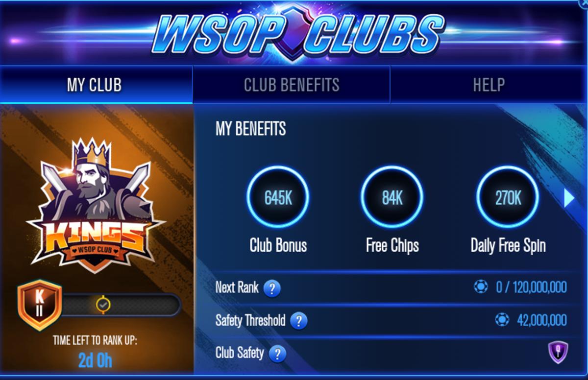 "The ""WSOP"" Clubs screen."