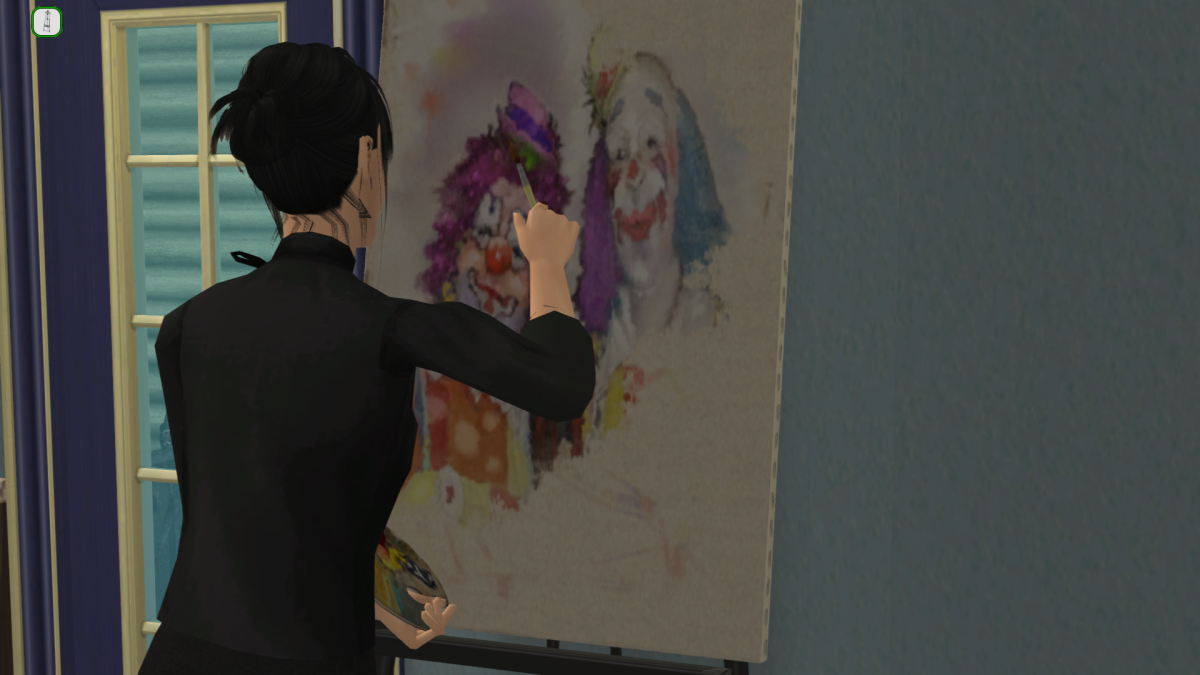 """My Sim painting some """"friendly"""" clowns . . ."""