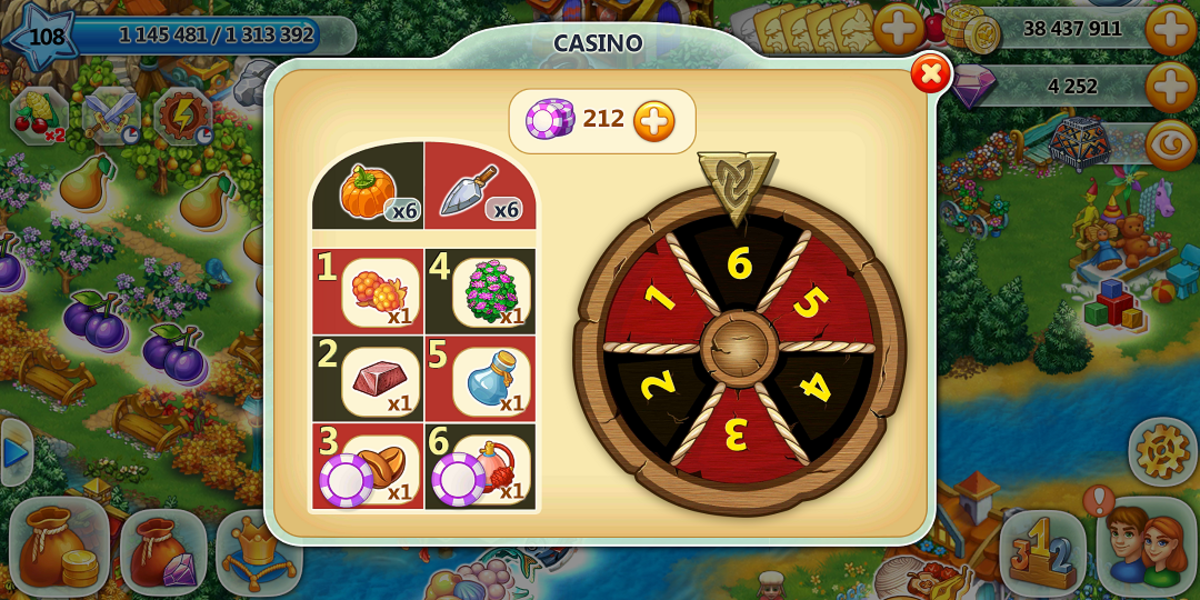"If you are a helpful clan member casino tasks are a breeze. Earn casino tickets in ""Harvest Land"" by filling help requests on the whale."