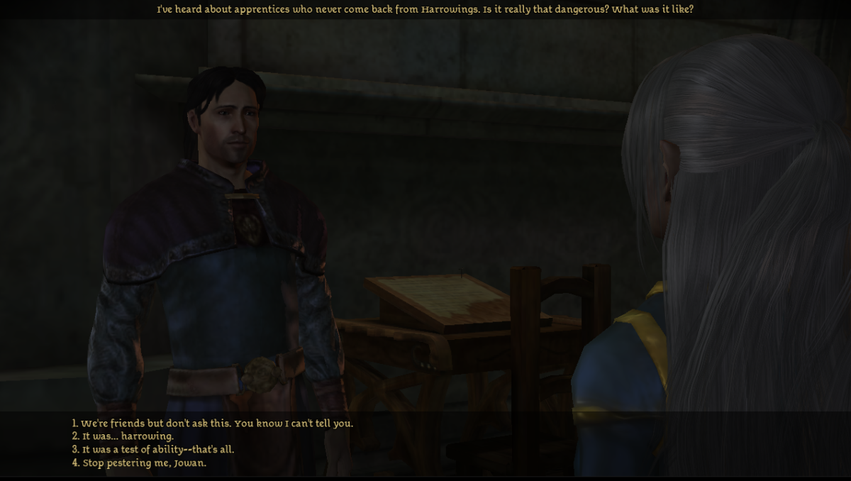 My Surana Warden talks with Jowan.