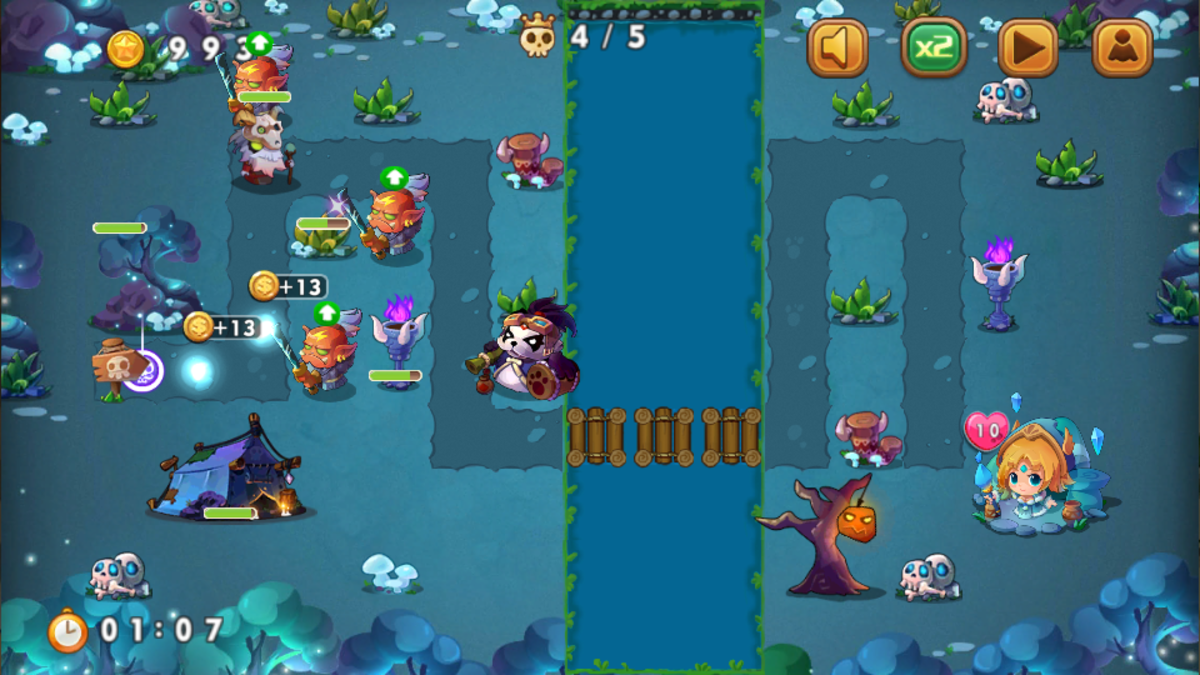 Put the legendary heroes near the base where the enemies emerge, this way you kill enemies fast and you'll be able to gain coins fast.