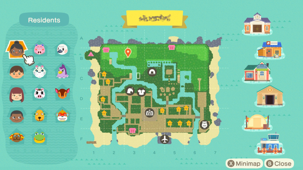 A look at my island map where you can see my side character's houses (the pink house icons).  This was before I added my fourth account, though!  My island looks a lot different now as well.