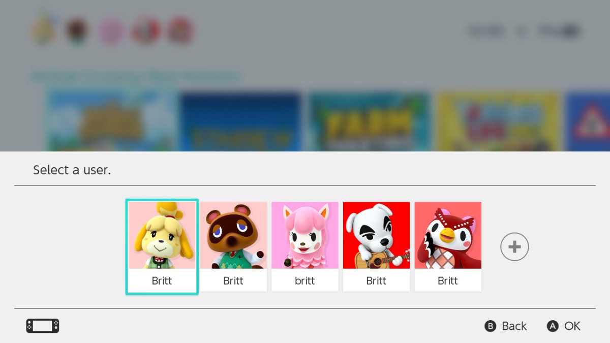 "Here's a look at my Nintendo Switch screen with my five characters I play with, all ""creatively"" named after myself."