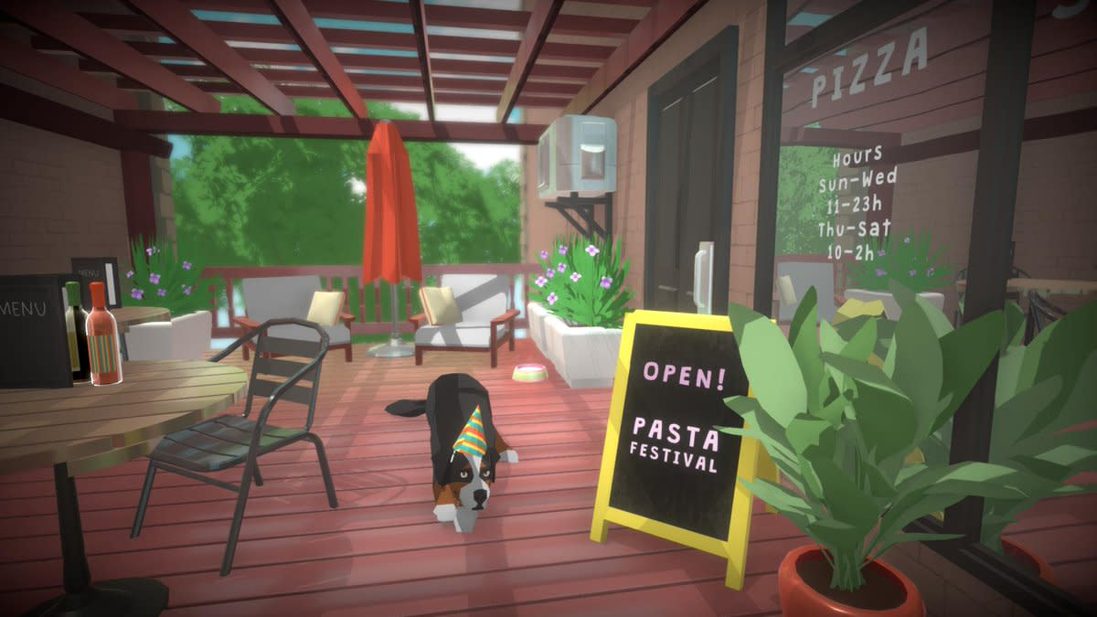 Pets have been confirmed for the base game!  You can also see that this adorable doggo is sitting outside a restaurant!