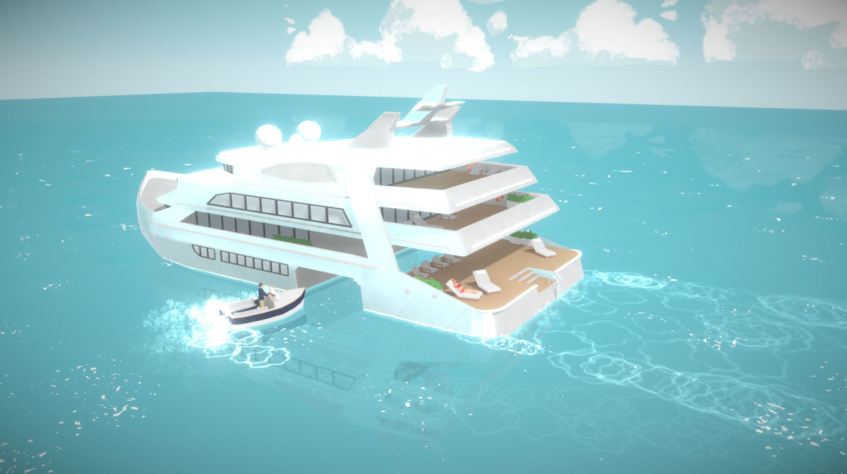 """An early design of a house boat in """"Paralives"""""""