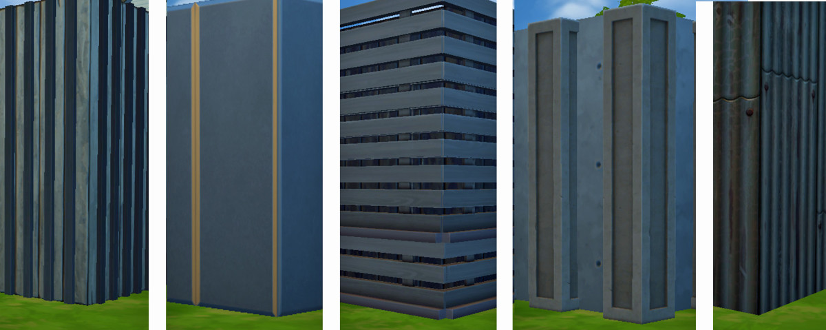 I combined different wall patterns, columns and items to come up with more industrial looking crates, but I could always use siding or paneling, as if my Sims refinished their walls to make them more attractive.