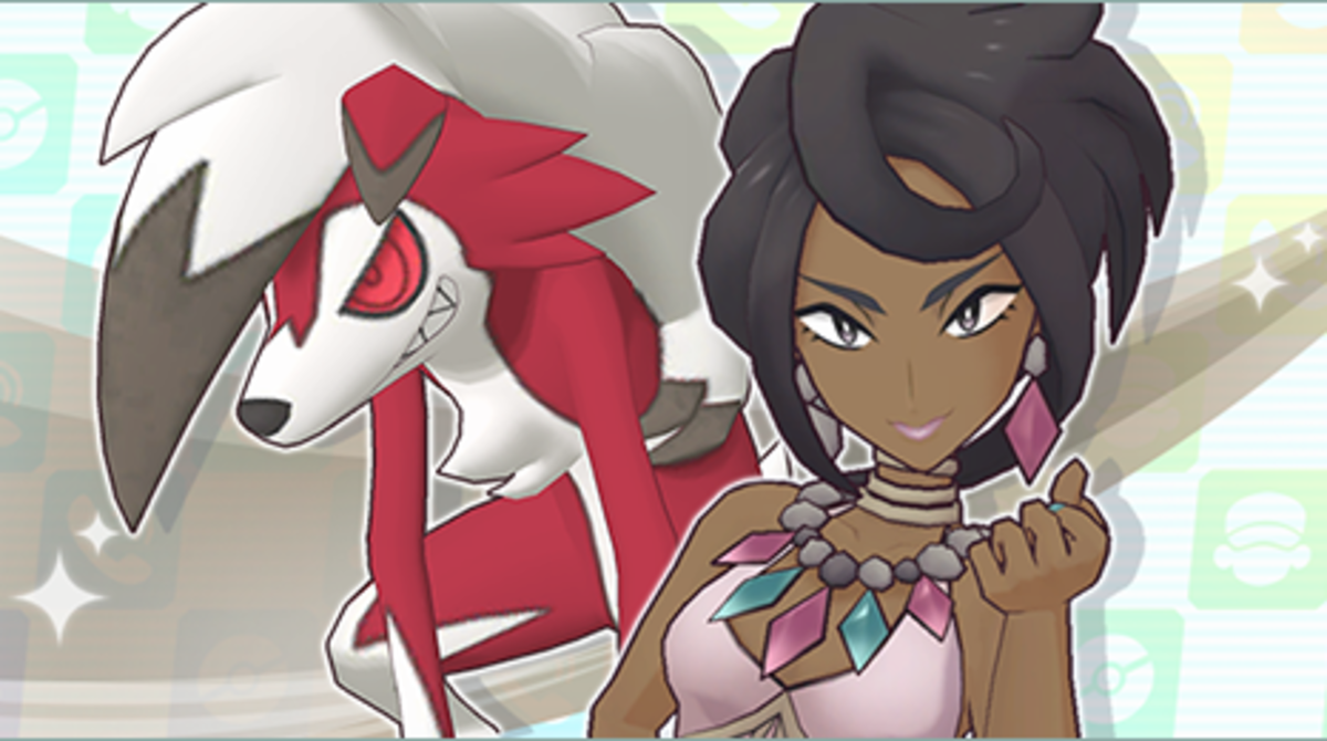 """Olivia and Lycanroc in """"Pokémon Masters"""""""