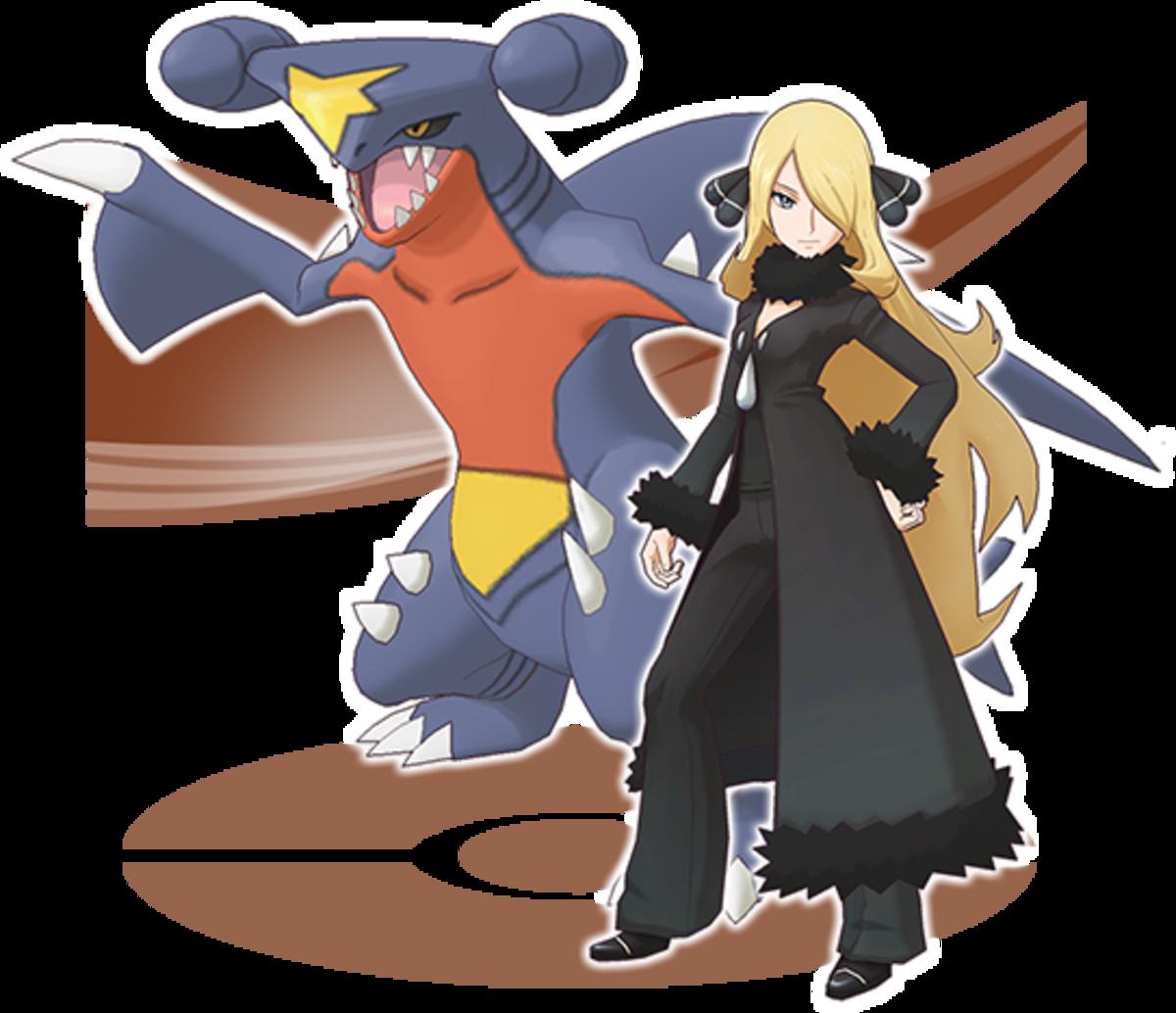 "Cynthia and Garchomp in ""Pokémon Masters"""