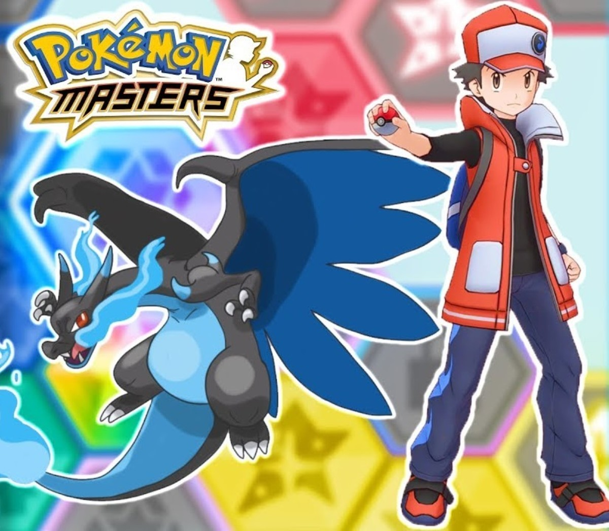 """Sygna Suit Red and Mega Charizard X in """"Pokémon Masters"""""""