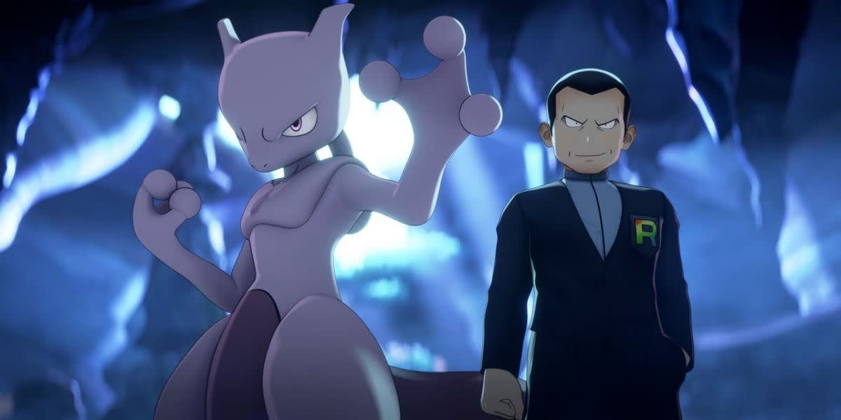 """Giovanni and Mewtwo in """"Pokémon Masters"""""""