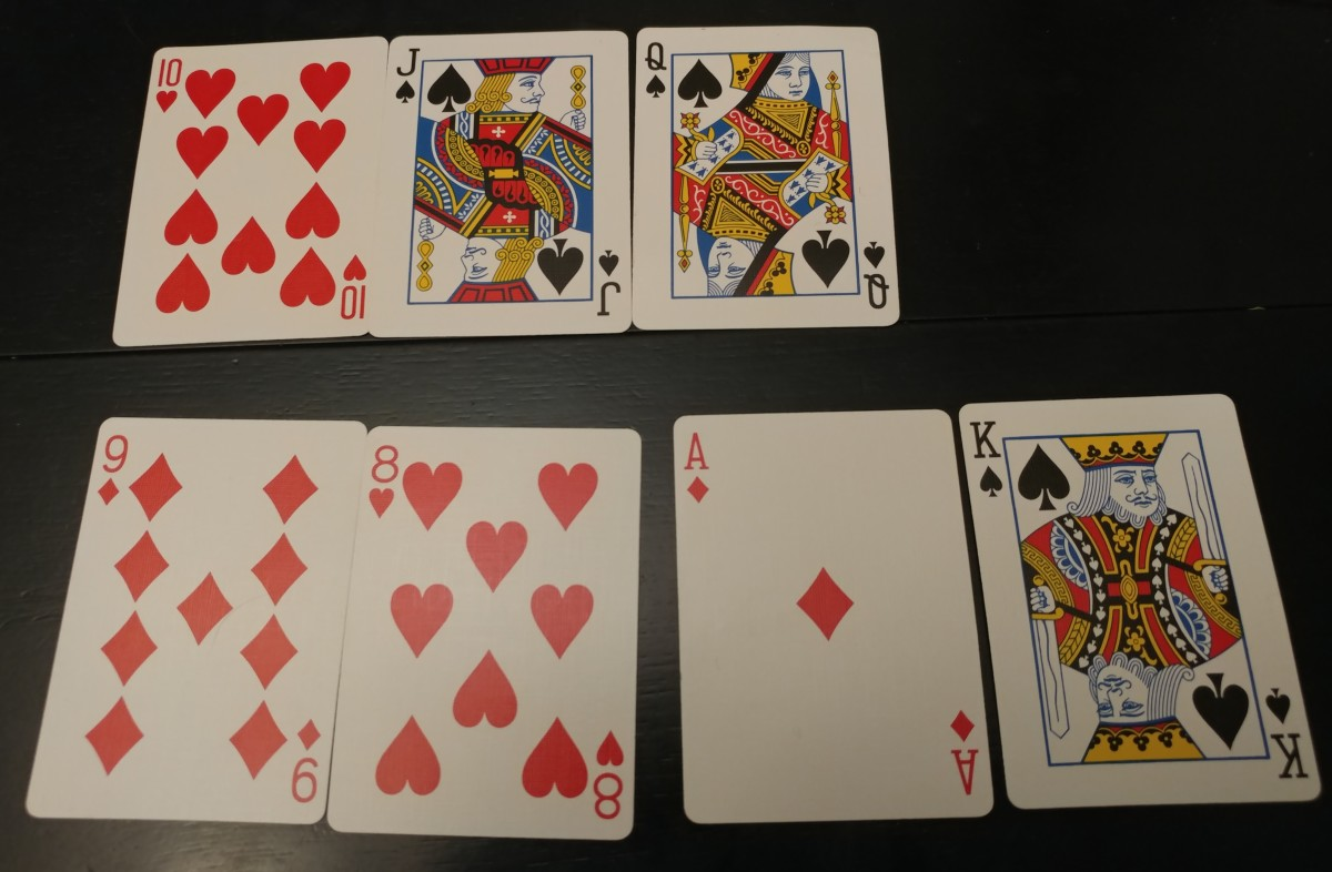 These are both examples of straights. One is very weak and one is the nuts. Keep this in mind when playing straights.