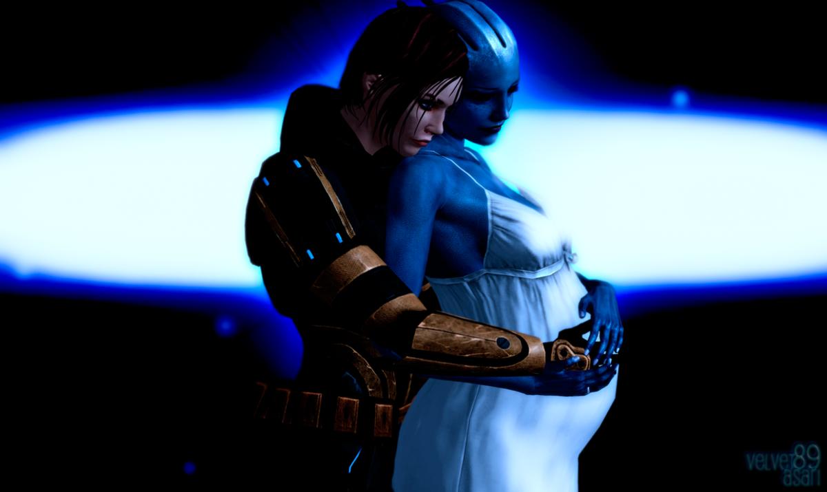 Fan art of pregnant Liara and Shepard.