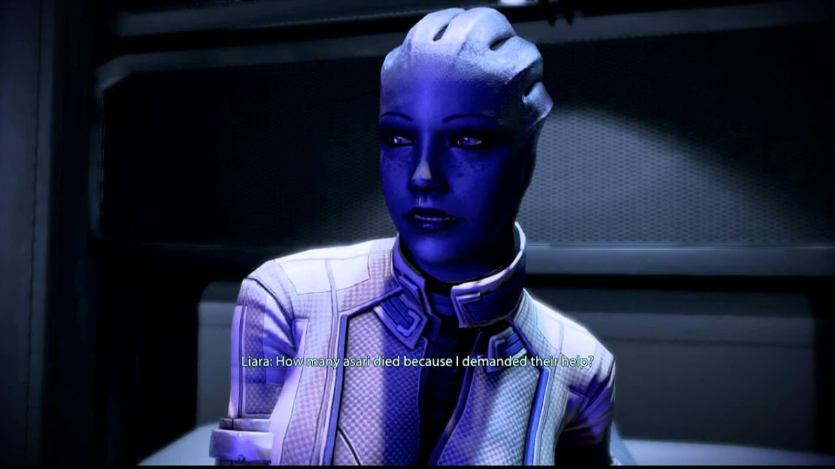 Liara cries on her bed after the fall of Thessia.