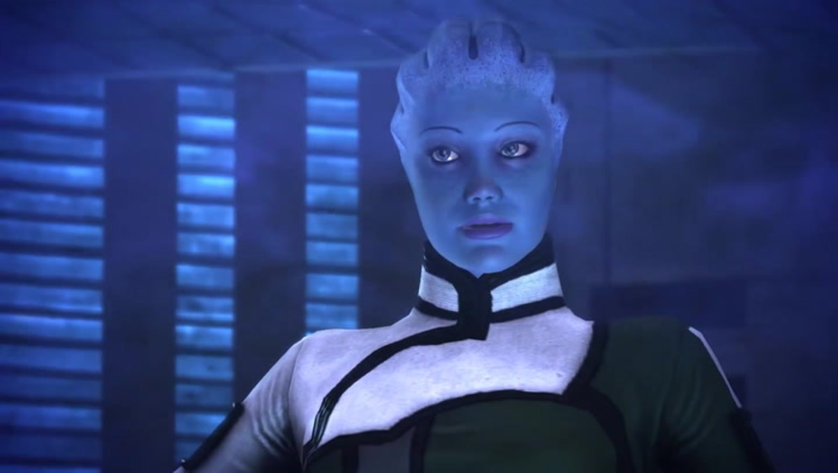 """Liara trapped in her bubble in the first """"Mass Effect."""""""