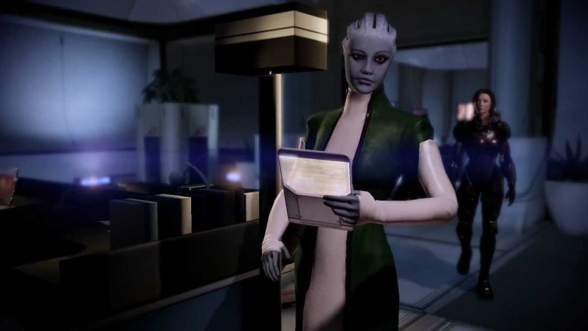 "Liara in her office in ""Mass Effect 2."""