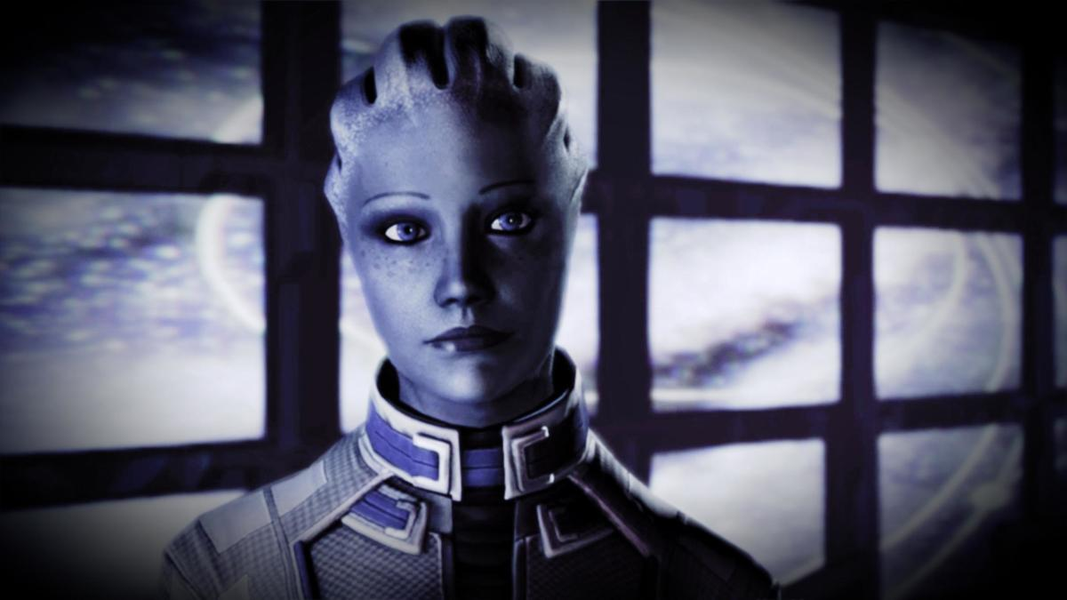 "An edited version of Liara's ending slide in ""Mass Effect 3."""